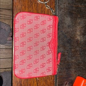 Dooney and bourke red wallet keychain